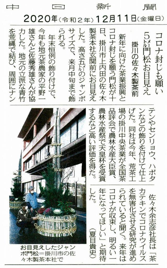 大門松 中日R2.12.11
